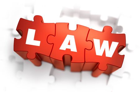 Law - Text on Red Puzzles with White Background and Selective Focus.