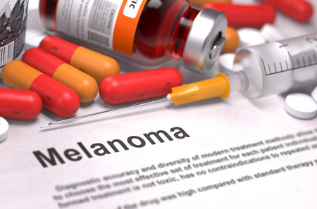 Melanoma - Printed Diagnosis with Blurred Text. On Background of Medicaments Composition - Red Pills, Injections and Syringe.