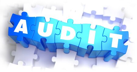 conformance: Audit -White Word on Blue Puzzles on White Background. 3D Illustration. Stock Photo