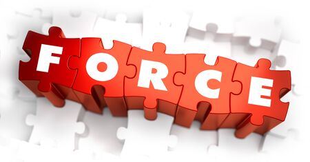 dictatorship: Force - Text on Red Puzzles with White Background and Selective Focus.