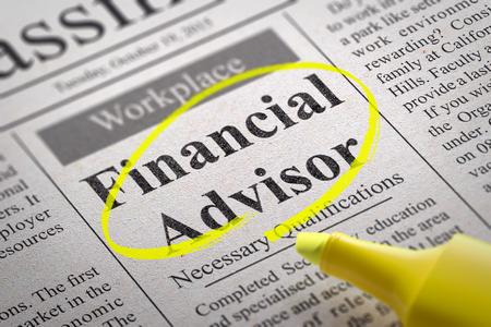 Financial Advisor Jobs In Newspaper. Job Search Concept. Stock ...