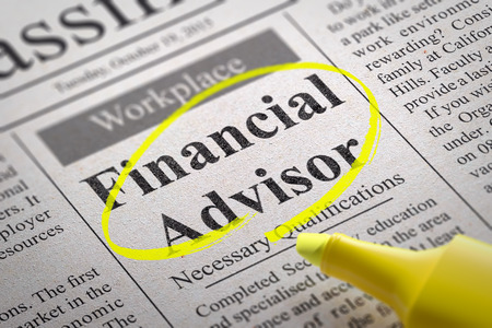 pecuniary: Financial Advisor Jobs in Newspaper. Job Search Concept.