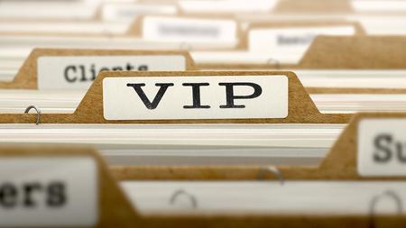 categorized: VIP Concept. Word on Folder Register of Card Index. Selective Focus.