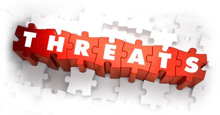 threats: Threats - Word on Red Puzzles. 3D Render.