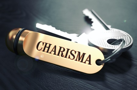 attractiveness: Charisma Concept. Keys with Golden Keyring on Black Wooden Table. Closeup View, Selective Focus, 3D Render. Toned Image.