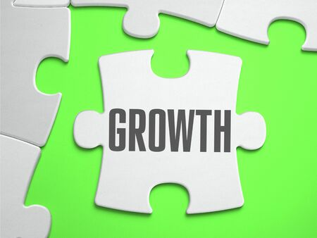 Growth - Jigsaw Puzzle with Missing Pieces. Bright Green Background. Close-up. 3d Illustration. illustration