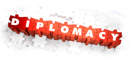 Diplomacy - Word on Red Puzzles. 3D Render. Stock Photo