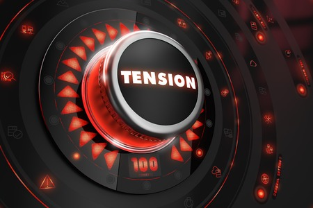 forcing: Tension Controller on Black Control Console with Red Backlight. Danger or Risk Control Concept. Stock Photo