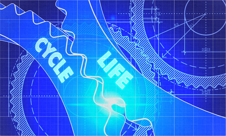 life cycle: Life Cycle on Blueprint of Cogs. Technical Drawing Style. 3d illustration with Glow Effect. Stock Photo