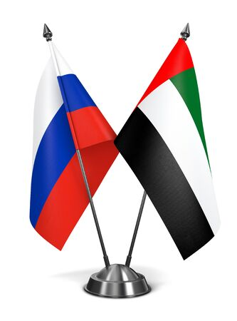 diplomatic: Russia and United Arab Emirates - Miniature Flags Isolated on White Background.