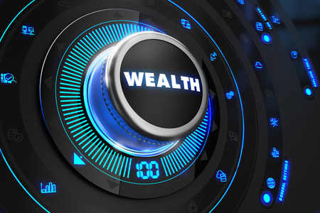 financial controller: Wealth Controller on Black Control Console with Blue Backlight. Stock Photo