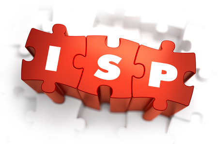 ISP - Internet Service Provider - Text on Red Puzzles with White Background. 3D Render.