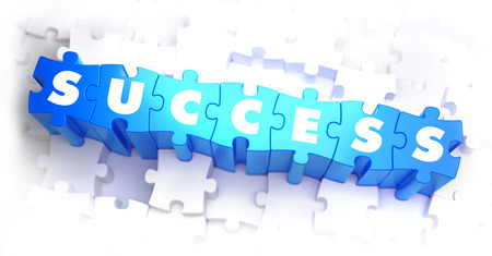 sensation: Success - White Word on Blue Puzzles on White Background. 3D Render.