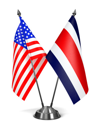 diplomatic: USA and Costa Rica - Miniature Flags Isolated on White Background. Stock Photo
