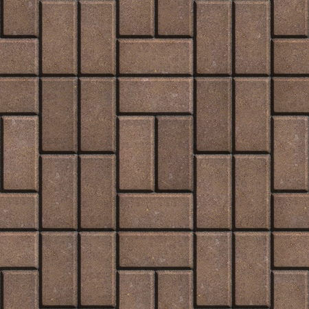 manner: Brown Pave Slabs Rectangles Laid out in a Chaotic Manner. Seamless Tileable Texture.