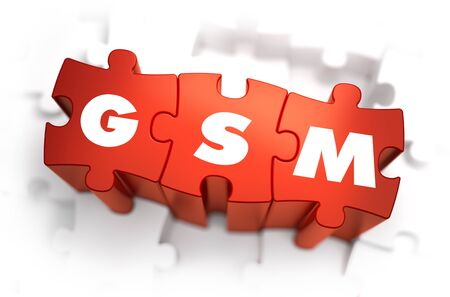 anywhere: GSM - Global System for Mobile - Text on Red Puzzles with White Background. 3D Render.