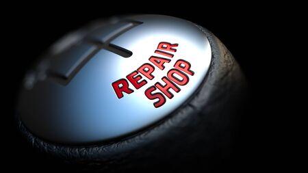 palanca de cambios: Taller de reparaciones - texto rojo en Negro Gear Shifter con cubierta de cuero. Cerrar La Vista. Foco. Foto de archivo