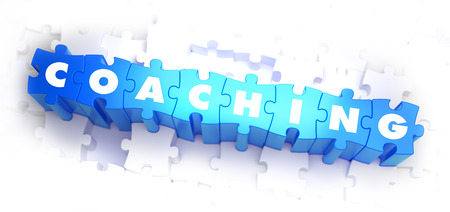 self development: Coaching - Word on Blue Puzzles on White Background. 3D Render. Stock Photo