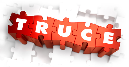 truce: Truce - White Word on Red Puzzles on White Background. 3D Illustration.