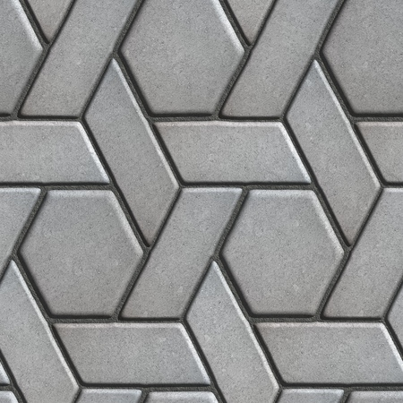 tileable: Gray Paving Slabs Built of Rectangles and Rhombuses. Seamless Tileable Texture.