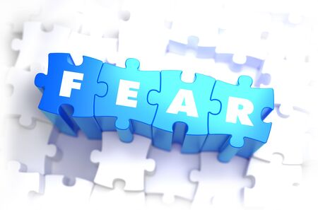 power failure: Fear - White Word on Blue Puzzles on White Background. 3D Illustration.