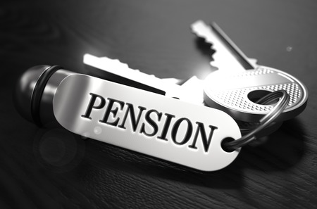 subsidize: Pension Concept. Keys with Keyring on Black Wooden Table. Closeup View, Selective Focus, 3D Render. Black and White Image.