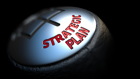 strategic focus: Strategic Plan. Gear Shift with Red Text on Black Background. Selective Focus. 3D Render.