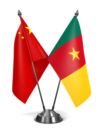 cameroonian: China and Cameroon - Miniature Flags Isolated on White Background.