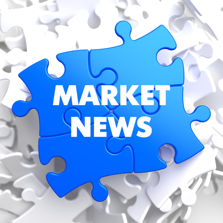 occurrence: Market News on Blue Puzzle on White Background.