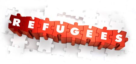 persecution: Refugees - White Word on Red Puzzles on White Background. 3D Render.