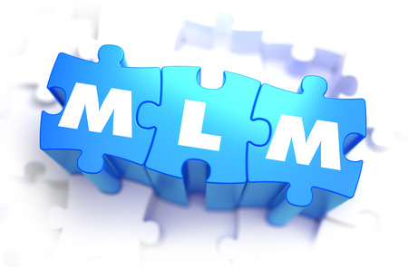 mlm: MLM - Multi Level Marketing - Text on Blue Puzzles on White Background. 3D Render.