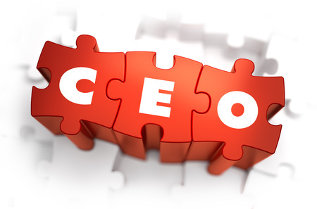 ceo: CEO - Chief Executive Officer - White Word on Red Puzzles on White Background. 3D Illustration. Stock Photo