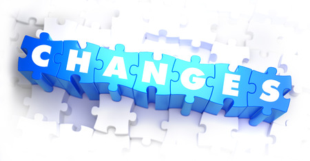 amendment: Changes - White Word on Blue Puzzles on White Background. 3D Illustration.