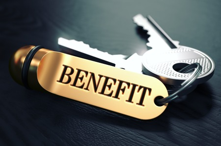 perks: Keys with Word Benefit on Golden Label over Black Wooden Background. Closeup View, Selective Focus, 3D Render. Toned Image.