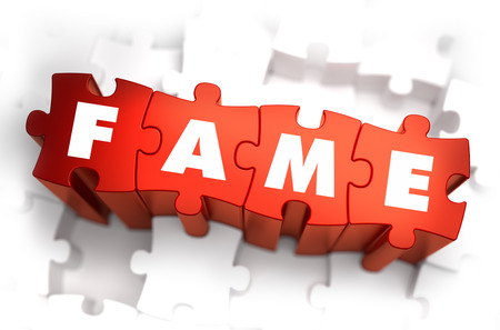 renown: Fame - Text on Red Puzzles with White Background. 3D Render.