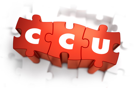 rivalry: Word - CCU - Concurrent Users - on Red Puzzle on White Background. Selective Focus. Stock Photo