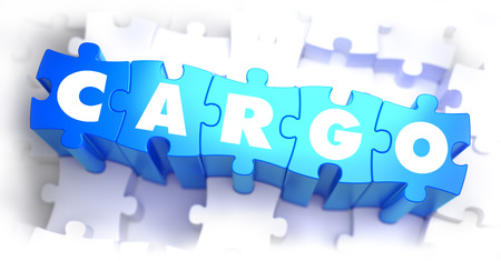 to unload: Cargo - White Word on Blue Puzzles on White Background. 3D Illustration.