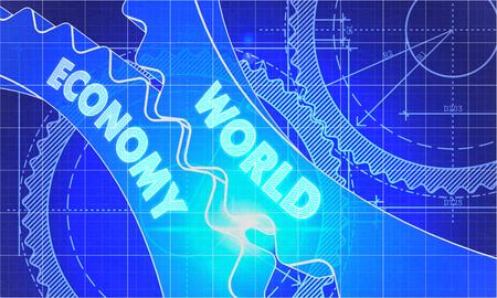 world economy: World Economy on the Mechanism of Gears. Blueprint Style. Technical Design. 3d illustration, Lens Flare.