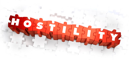 Hostility - Text on Red Puzzles with White Background. 3D Render. Stock Photo