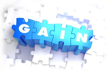 gain: Gain - White Word on Blue Puzzles on White Background. 3D Illustration.