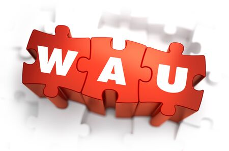 acu: Word - WAU - Weekly Active Users - on Red Puzzles with White Background. 3D Render.