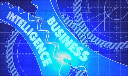 Business Intelligence sur le Mécanisme de Gears. Blueprint style. Conception technique. 3d illustration, Halo lumineux.