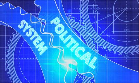 political system: Sistema Pol�tico sobre el Mecanismo de ruedas dentadas. Estilo Blueprint. Dise�o T�cnico. 3d ilustraci�n con Resplandor del objetivo.