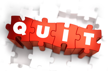 resign: Quit - White Word on Red Puzzles on White Background. 3D Render.