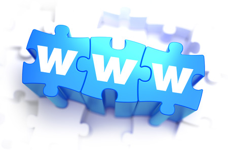 word www: WWW - White Word on Blue Puzzles on White Background. 3D Illustration. Stock Photo