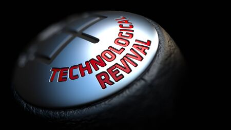 technological evolution: Technological Revival. Gear Shift with Red Text on Black Background. Selective Focus. 3D Render.