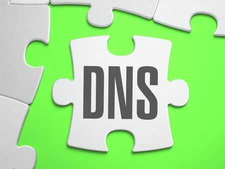 dns: DNS - Domain Name Server - Jigsaw Puzzle with Missing Pieces. Bright Green Background. Close-up. 3d Illustration.