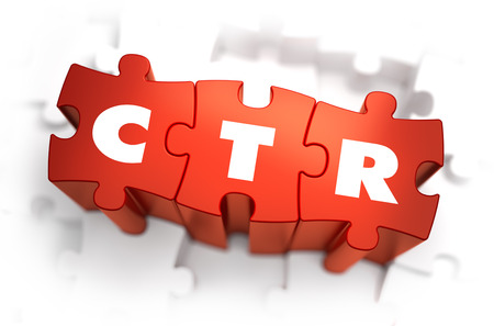 advertiser: CTR - Click Through Rate - White Word on Red Puzzles on White Background. 3D Illustration