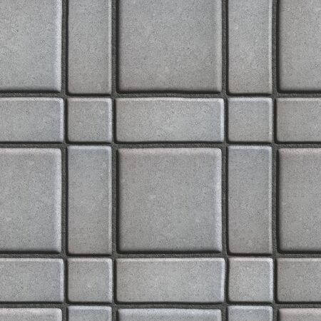 built: Large Quadratic Gray Pattern Paving Slabs Built of Small Squares and Rectangles. Seamless Tileable Texture.