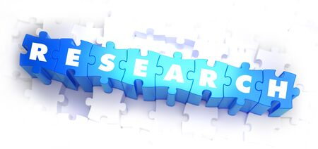 Research - Text on Blue Puzzles on White Background. 3D Render.